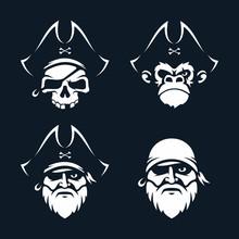 Modern Professional Vector Set Emblems Pirates In Black Theme