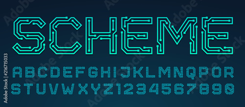 Fotografiet  Vector printed circuit board style font