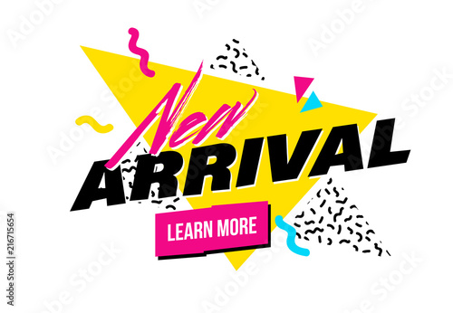 Papel de parede  Vector memphis style banner with New Arrival label