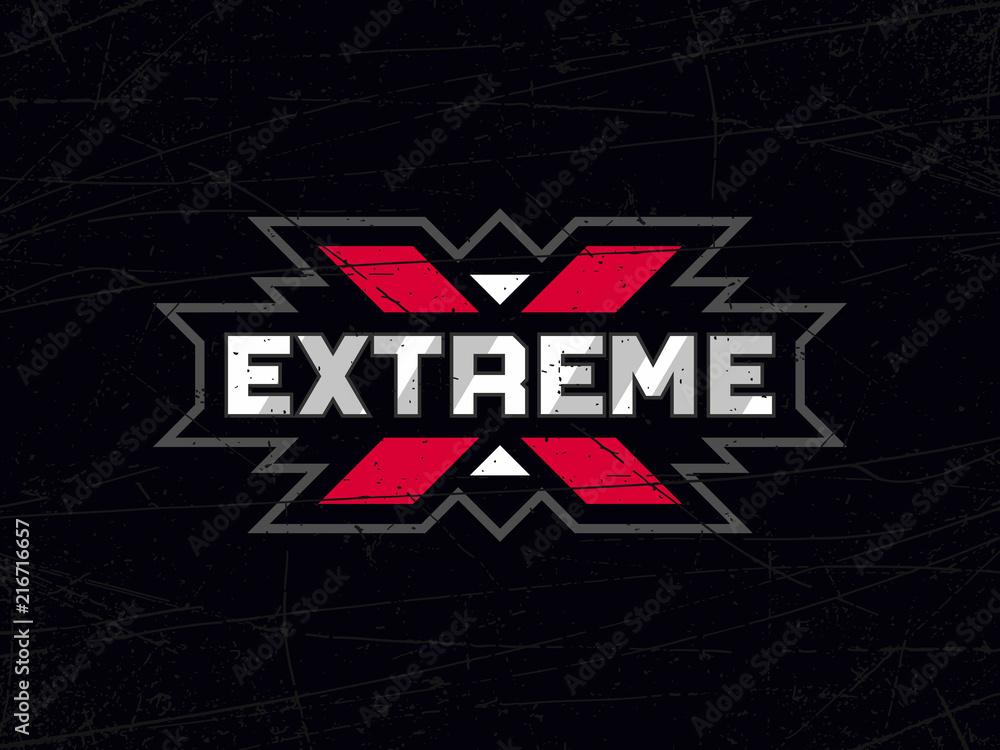 Fototapety, obrazy: Modern professional vector emblem extreme in black theme