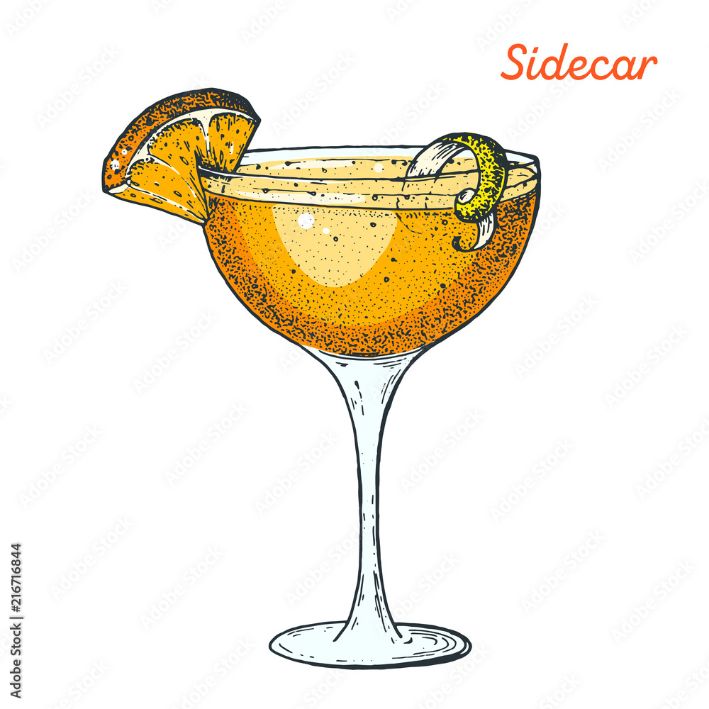Fototapeta Sidecar cocktail illustration. Alcoholic cocktails hand drawn vector illustration.