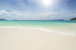 Sea view beautiful tropical beach background with horizon blue sky and white sand. Summer concept.