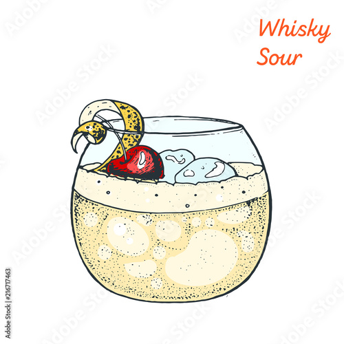 Fotografie, Obraz Whiskey sour cocktail illustration