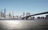 Fototapeta New York - empty street with modern city new york as background