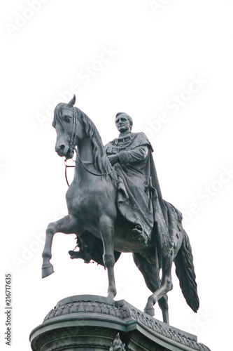Canvas Prints The statue of King Johann Saxon in Dresden in Germany is isolated on white background.