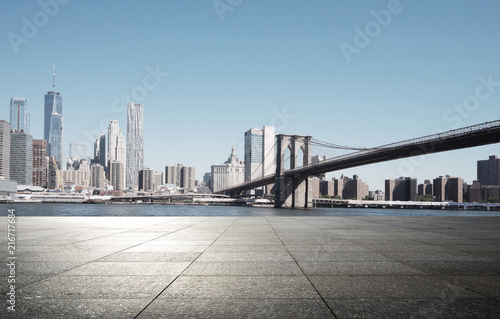 Fotobehang Stad gebouw empty street with modern city new york as background