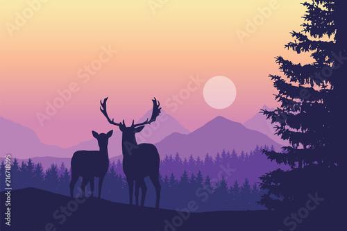 Fototapety fioletowe   jelenie-na-lace-w-fioletowej-mgle-poranka