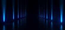 Empty Dark Futuristic Sci Fi Big Hall Room With Lights And Refelction Surface 3D Rendering
