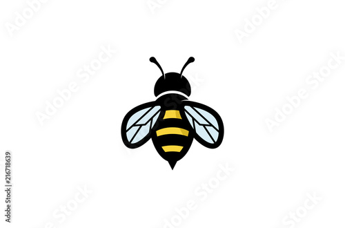 Creative Geometric Bee Logo Design Illustration Canvas Print