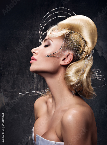 Vertical portrait of a beautiful young woman hair in the avant-garde style Tapéta, Fotótapéta