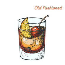 Old Fashioned Cocktail Illustration. Alcoholic Cocktails Hand Drawn Vector Illustration.
