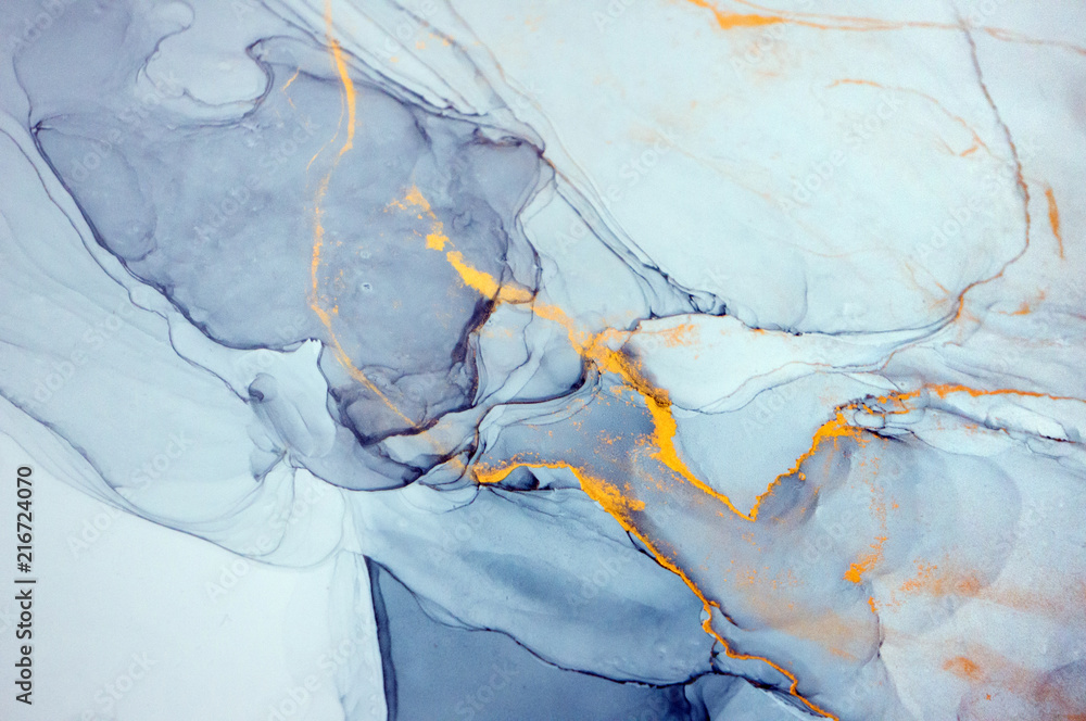 Fototapeta Ink, paint, abstract. Closeup of the painting. Colorful abstract painting background. Highly-textured oil paint. High quality details. Alcohol ink modern abstract painting, modern contemporary art.