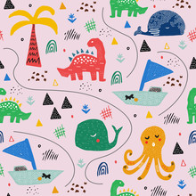Pattern With Tropical Wild Animals. Kid Drawing.Abstract Childish Art. Baby Pattern. For Nursery Fashion,wrapping Or Cover.
