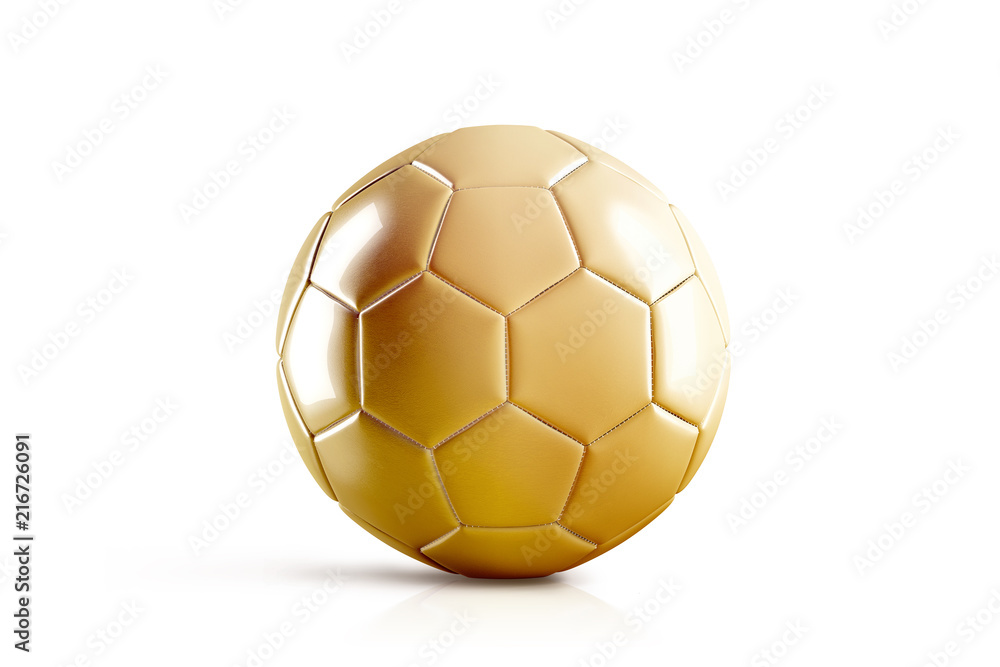 Photo  Blank golden soccer ball mock up, front view, isolated, 3d rendering
