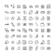 Set of premium money icons in line style.