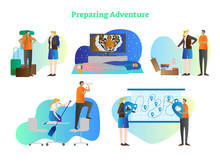 Preparing Adventure Vector Illustration Collection Set. Couple Planning Vacation By Collecting Stuff In Backpack, Sleeping In Bags, Packing, Rowing And Put Pins On Map.