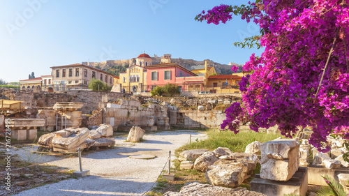 Sunny panoramic view of the Library of Hadrian, Athens, Greece