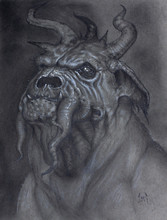 Pencil Portrait Drawing Of A Demonic Dog  Creature With Tentacles And Horns