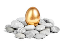 Golden Egg In A Pebble Nest On A White Background
