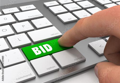 Photo bid button concept 3d illustration