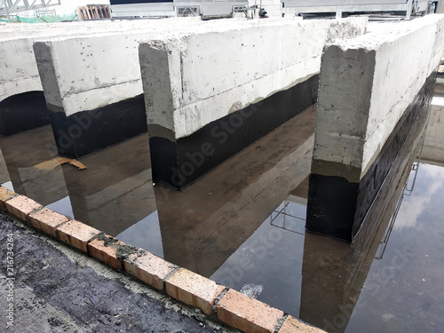 Valokuva  KUALA LUMPUR, MALAYSIA -AUGUST 04, 2018: Ponding test cunducted after applying waterproofing layer to the concrete surface