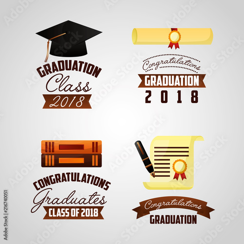 congratulations graduation signs books certificate vector