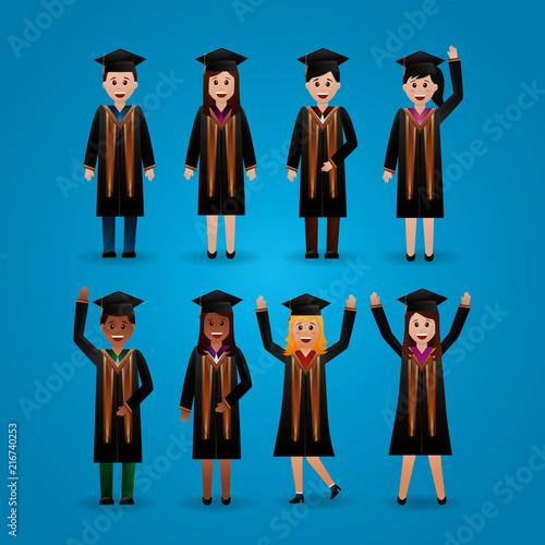 Fotografie, Obraz  congratulations graduation degrade background students smiling greeting hands up