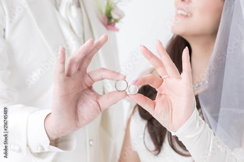 Fotomural 指輪を持つ新郎新婦