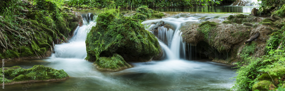 Fototapeta Panoramic view of small waterfalls streaming into small pond in green forest in long exposure