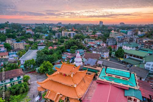 Foto op Plexiglas Asia land Yangon skyline with beautiful sunrise