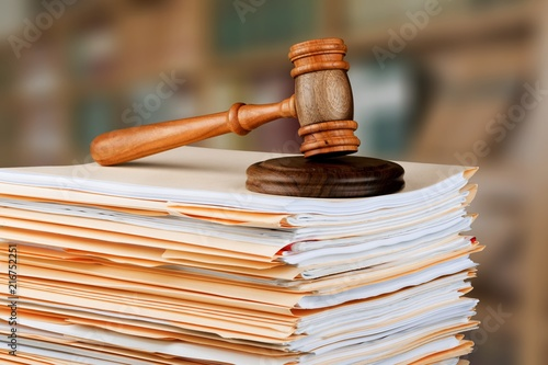 Photo Judge hammer and documents on  background