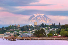 Mount Rainier Over Tacoma WA Waterfront At Dusk