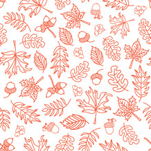 Seamless Vector Doodle Leaves Background. Orange Leaves On White Background. Acorn, Oak Tree, Maple Tree Pattern. Monochrome Doodle Leaf Print. Fall Background, Thanksgiving, Seasonal Print, November