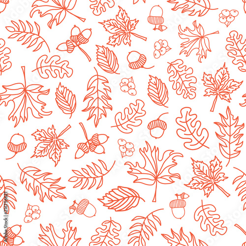 Fotografie, Obraz  Seamless vector doodle leaves background