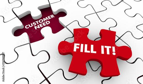 Fotografía Customer Need Meet It Puzzle Pieces 3d Illustration