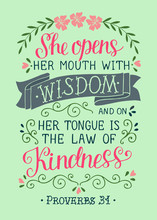 Hand Lettering With Bible Verse She Opens Her Mounth With Wisdom. Proverbs