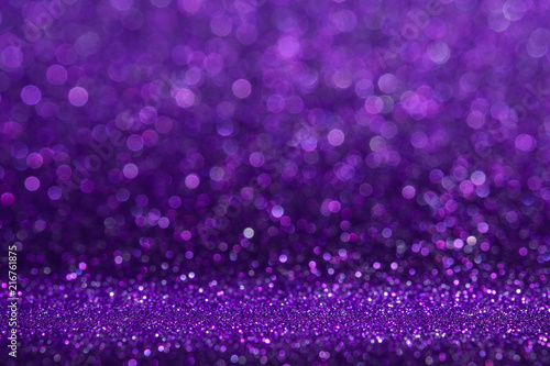 Abstract purple sparkling glitter wall and floor perspective background studio with blur bokeh.luxury holiday backdrop mock up for display of product.holiday festive greeting card. - 216761875