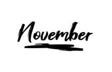 November Black Lettering Month Calendar
