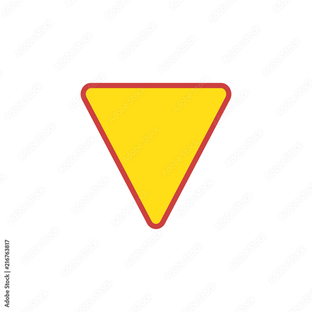 Fototapeta Yield Triangle Sign flat icon, vector sign, colorful pictogram isolated on white. Road traffic coordination symbol, logo illustration. Flat style design
