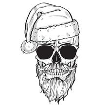 Hand Drawn Angry Skull Of Sant...