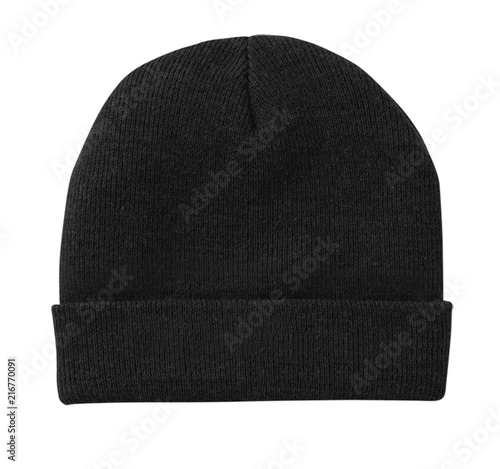 Carta da parati  Blank beanie in black color isolated on white background