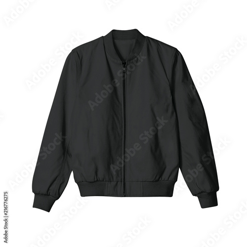 Blank jacket bomber black color in front view on white background Wall mural