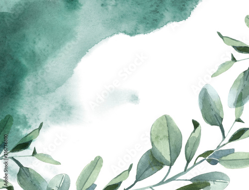 Poster Aquarel Natuur Horizontal background of green leaves and green paint splash on white background