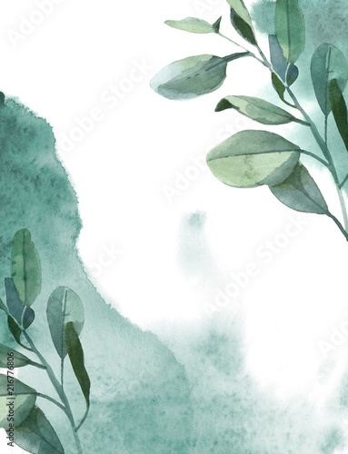 Tuinposter Aquarel Natuur Vertical background of green eucalyptus leaves and green paint splash on white background