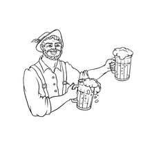 Vector Man Waiter In National Costume With Mugs Beer. Symbol Of Holiday Oktoberfest. Isolated Black White Contour Sketch Illustration.