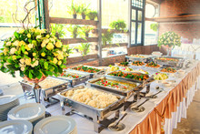 Thai Buffet Dinner At The Beautifully Arranged Wedding And Sunshine.