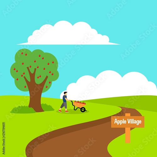 Staande foto Turkoois Picking apple fruit illustration
