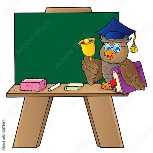 Foto op Plexiglas Voor kinderen Schoolboard with owl teacher
