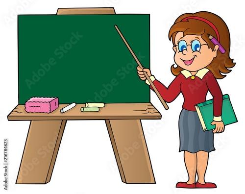 Foto op Plexiglas Voor kinderen Woman teacher standing by schoolboard
