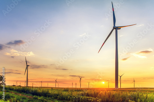 Foto  Renewable energy with wind turbines